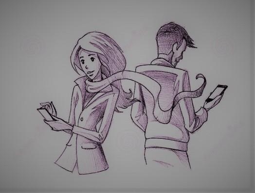 crayonnez-l-illustration-dessin-du-jeune-service-de-mini-messages-de-couples-au-téléphone-35394084